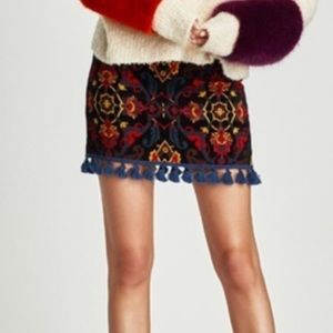 Zara Tapestry Style Skirt with Fringe